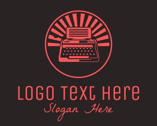 Red Vintage Typewriter Logo Maker
