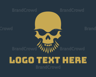 Facial Hair - Beard Skull Head logo design