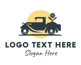 Carriage - Flower Truck Silhouette logo design