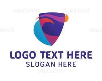 Swoosh - Colorful Shield Stroke logo design