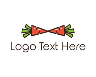 Vegetarian - Carrot Bow Tie logo design