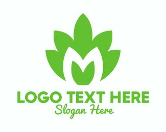 Natural Product - Green Plant Letter M logo design