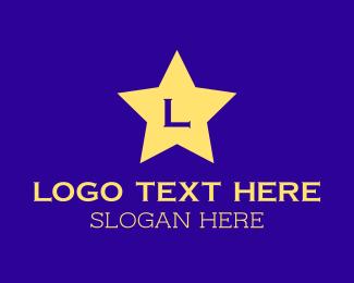 Baby Accessory - Bright Yellow Star Cursive Letter logo design