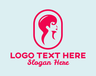 Hair Style - Pink Hair Beauty Salon logo design