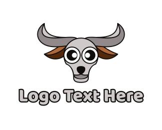 Grey Bull - Grey Buffalo Head logo design