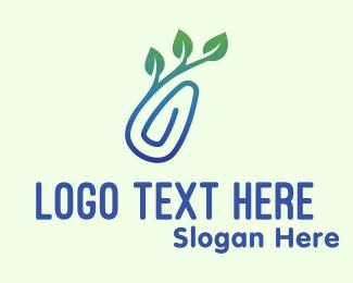 Gradient - Gradient Eco Paper Clip logo design