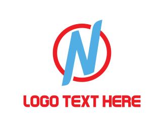 Printing - Blue Letter N logo design