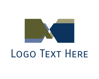 Alphabet - Blue Letter M  logo design