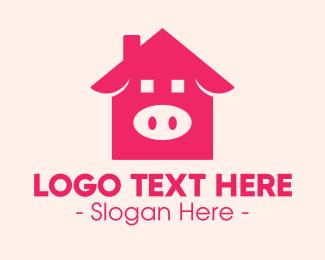 Piggy - Pink Pig House logo design