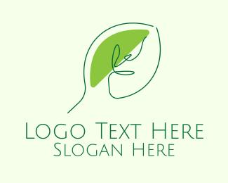 Tea Leaf - Green Leaf Line Art logo design