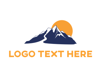 Climb - Blue Mountain & Yellow Sun logo design