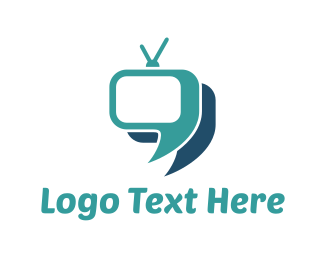 Tv - Blue Television Chat logo design