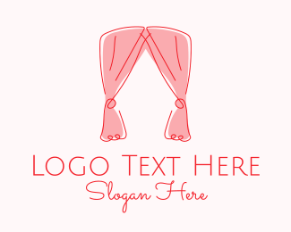 Interiors - Pink Curtain Drapes logo design
