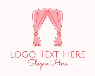 Living Room - Pink Curtain Drapes logo design