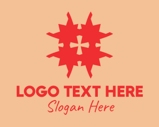 Tile Pattern - Red Cross Puzzle  logo design