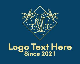 Water Sports - Surfboard Surf Tropical Beach logo design