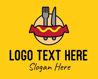 Hot Dog Stall - Hot Dog Sandwich Meal logo design