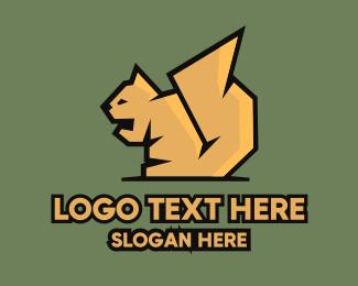 Yellow Squirrel Mascot Logo Maker