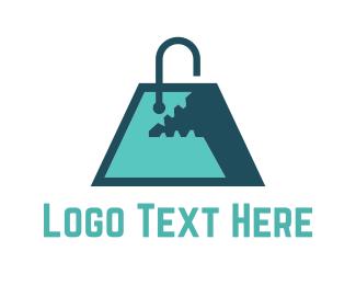 Mall - Monster Shopping Bag logo design