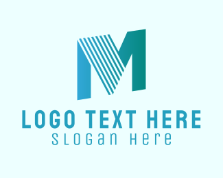 Typography - Blue Stripe Letter M logo design