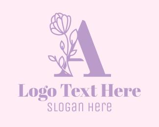 Purple Flower - Floral Lilac Letter A logo design