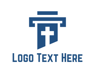 God - Cross Column logo design