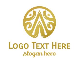 Intial - Gold A Emblem logo design