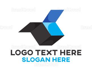Cardboard - Open Blue Box logo design