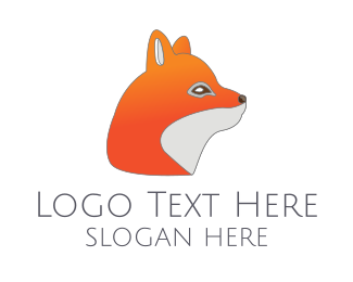 Red Fox - Cute Orange Fox logo design