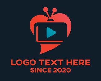 Tv - TV Heart Streaming logo design