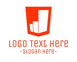 Economy - Red Bar Chart  logo design