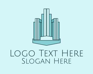 3d Model - Blue Skyscraper Building  logo design