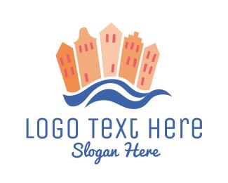 80s - Beach Town logo design