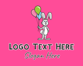 Party Needs - Balloon Rabbit Mascot  logo design