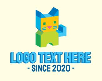 3d - 3d Geometric Cat  logo design