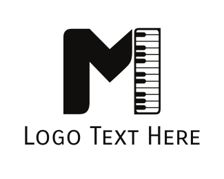 Live Music - Piano Letter M logo design
