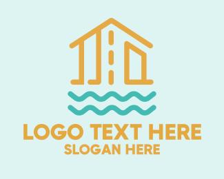 Wooden - Floating Wooden House logo design