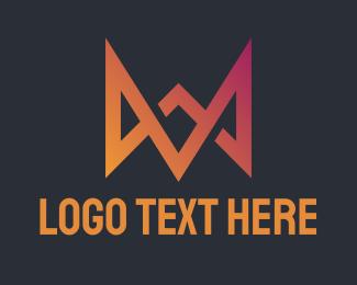 A - Gradient Crown Letter M & A logo design