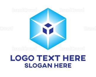 Dynamic - Blue Gradient Hexagon Cube logo design