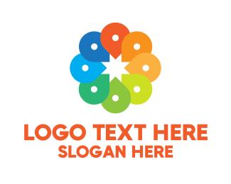 Gps Pin - Creative Color Location Pins logo design
