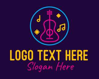 String Instrument - Neon Music Bar Lounge logo design