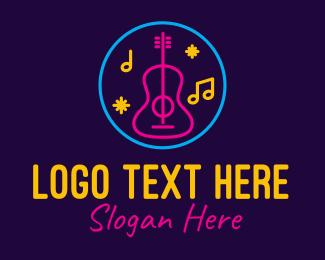 Disco Bar - Neon Music Bar Lounge logo design