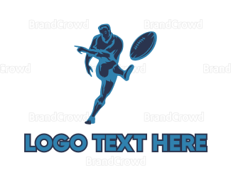 Player - Blue Rugby Player logo design