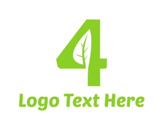Number - Organic Number 4 logo design