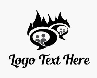 Communicate - Fire Chat logo design