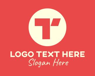 Letter T - Red Round Letter T logo design