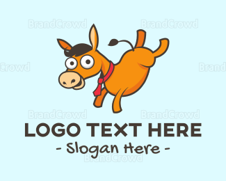 Party - Donkey Cartoon logo design