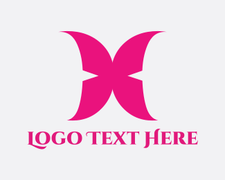 Pink Butterfly - Pink Wings logo design