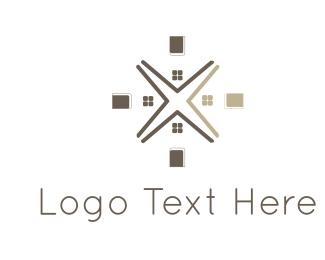 Real Estate - House Flower logo design