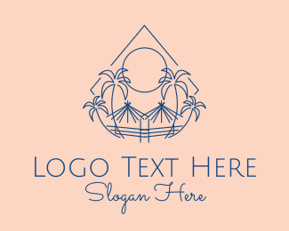 Oasis - Tropical Palms Tiki Hut logo design